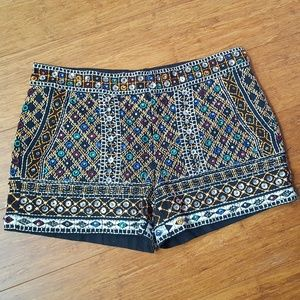 Zara Woman Embroidered Sequin Beaded Shorts